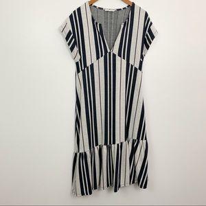 Zara TRF | Navy Grey Striped Ruffle Hem Dress Sz M